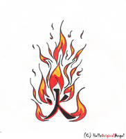 'Fire' Kanji Tattoo Design by HellsOriginalAngel