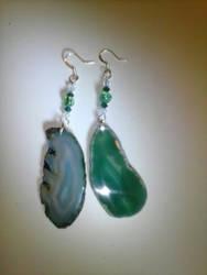 Wind Talker Green Geode Earrings