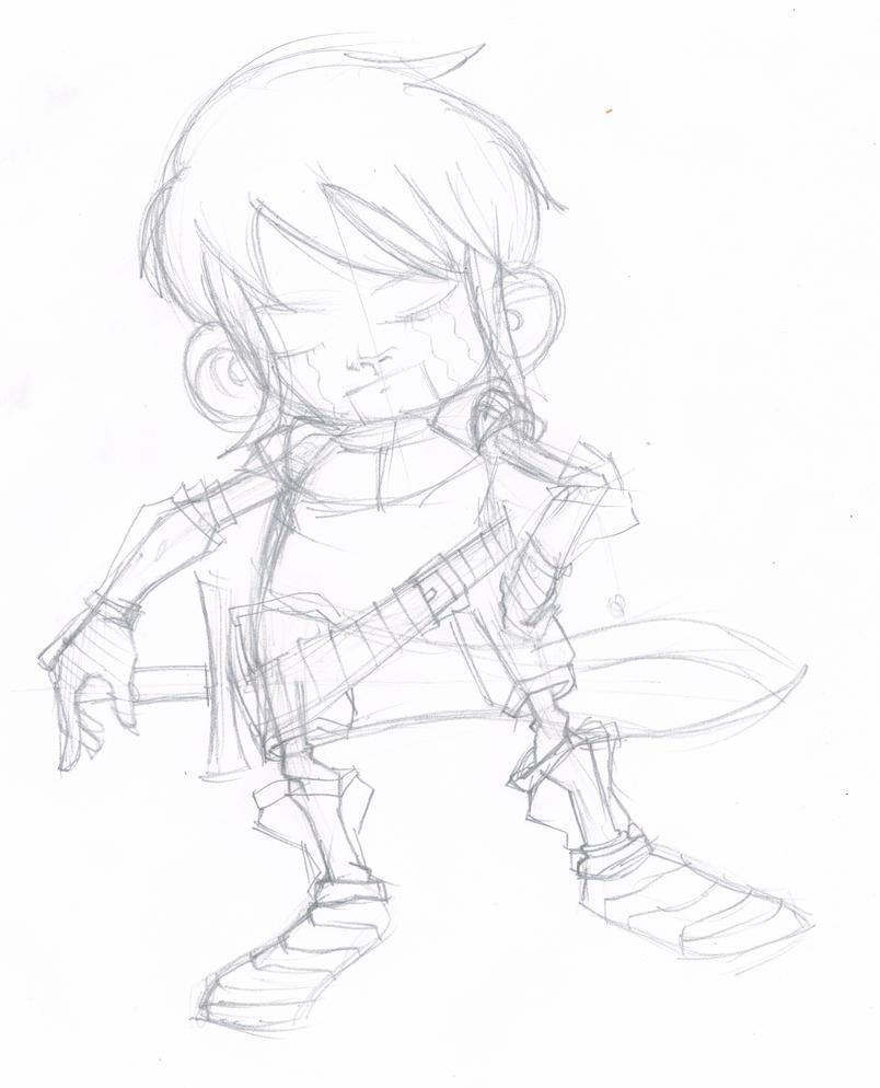 Chibi Swordman Sketch by iEzQaNDaR