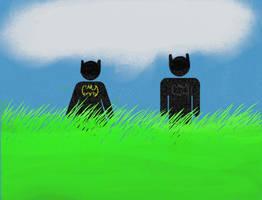 Batman and Batgirl in grass