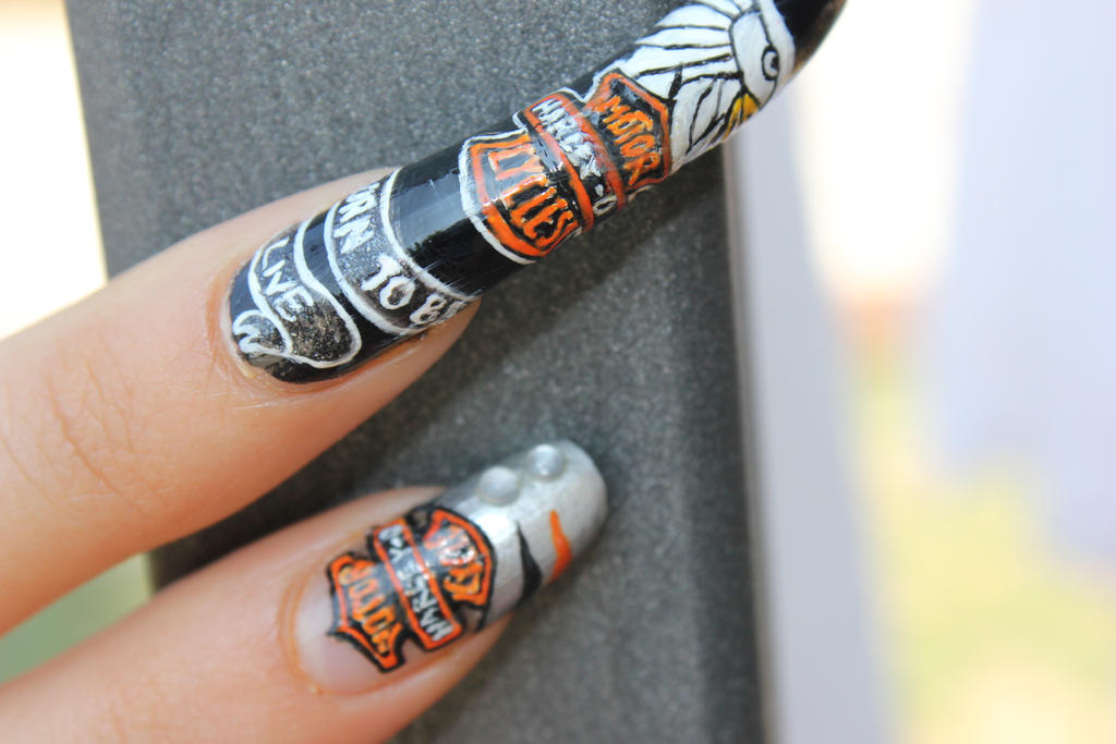 Harley Davidson (HD) nail art by ChiquisArt ... - Harley Davidson (HD) Nail Art By ChiquisArt On DeviantArt