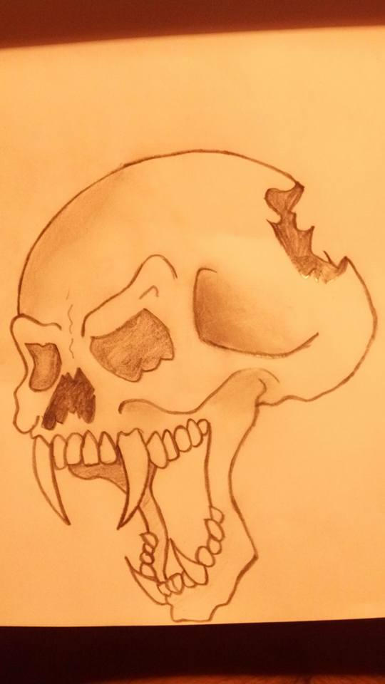 My bat-man skull drawing