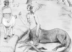 Kelpie Centaur and Sheep Centaur by SilverValravn