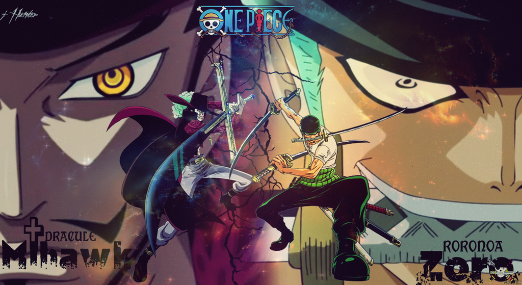 wallpaper one piece mihawk and zoro by jhunter by