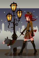 Walking the dog by Nyamesiss