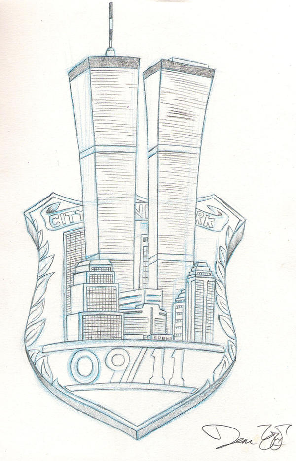 It is a graphic of Nifty Twin Towers Drawing