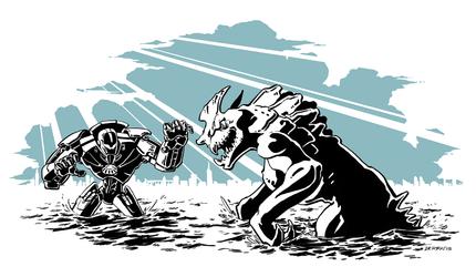 Pacific Rim - Gypsy Danger VS a Kaiju by dkirbyj