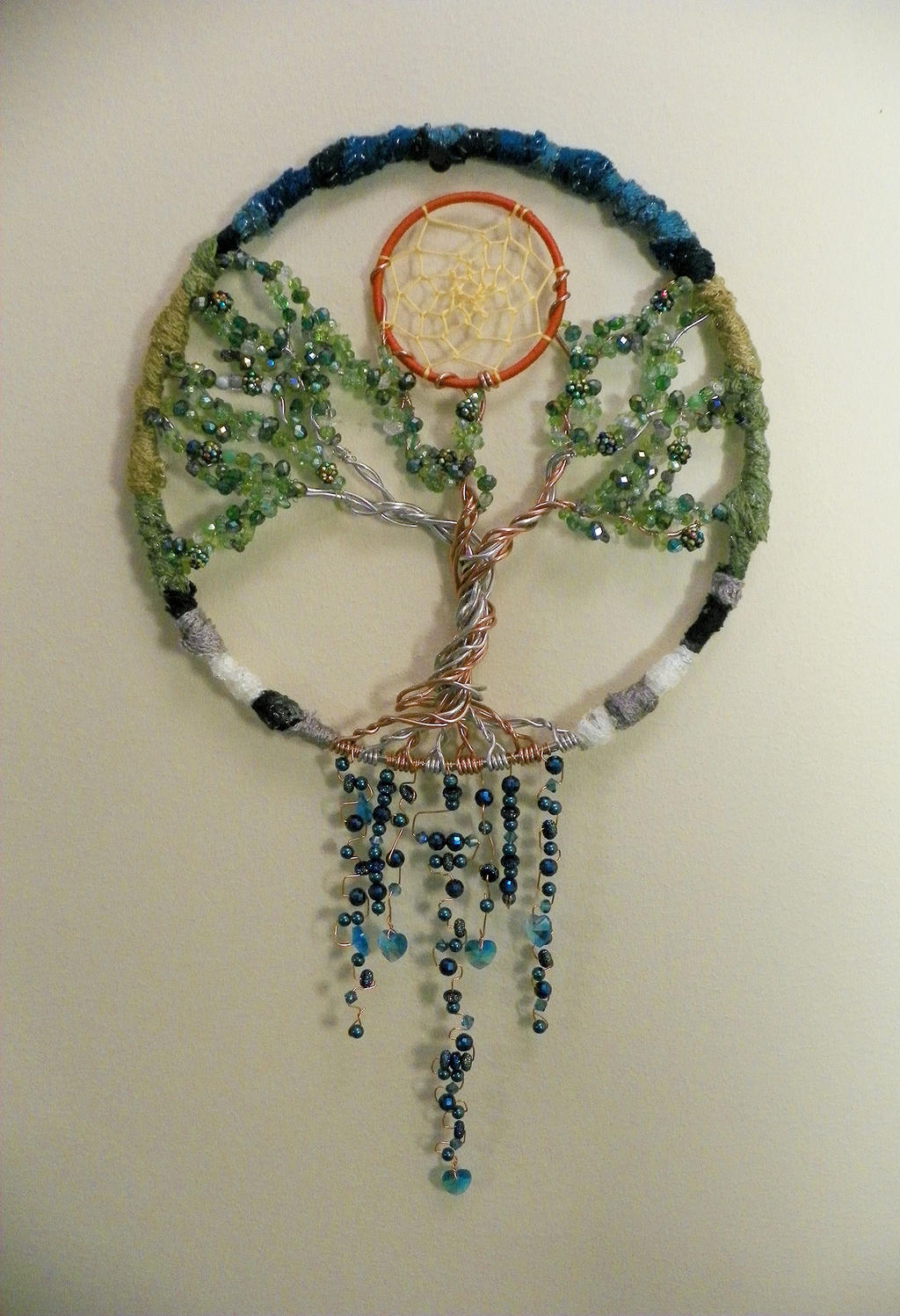 Epic tree of life dreamcatcher beaded wire wrap by for How to make a wire tree of life sculpture