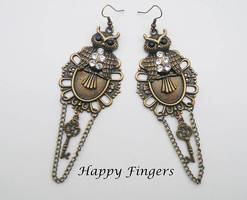 owl earrings with chains