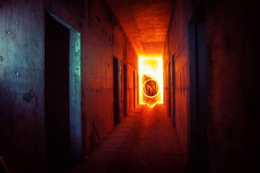 blue light red fire