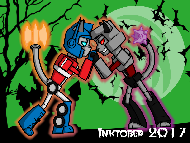 Inktober Day 12 - Optimus and Megatron Kitties by wachey