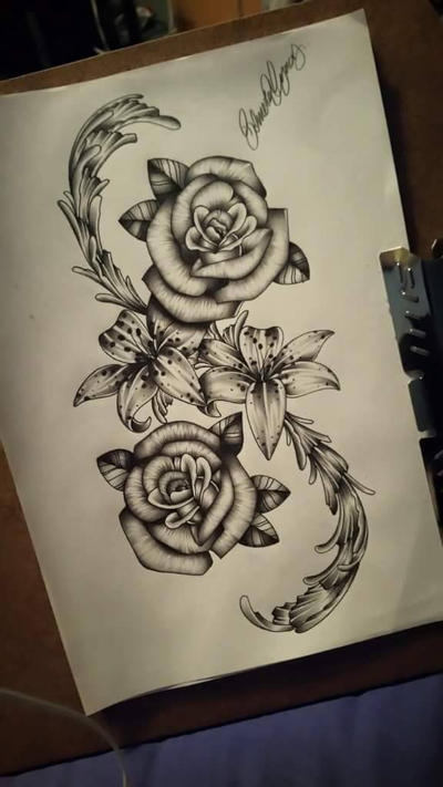 Rose And Lily Tattoo Design By Driabalo On Deviantart