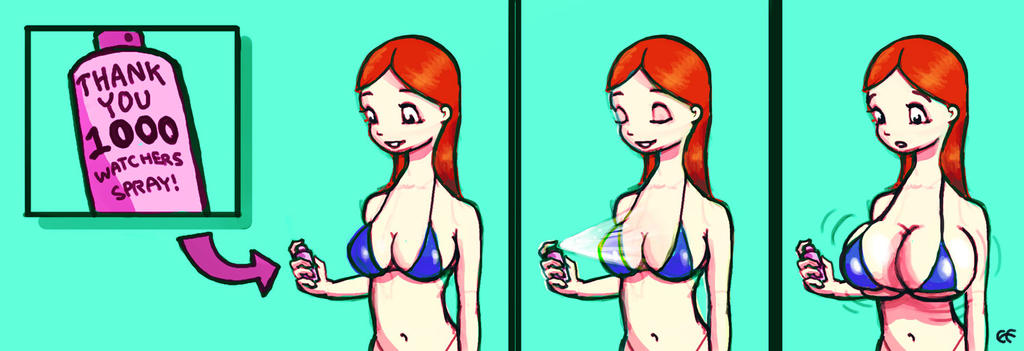 1000 Watchers! Breast Expansion comic strip by expansionforever