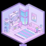 Isometric Pixel Room - Pastel Studio