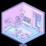 Isometric Pixel Room - Birthday Bedroom