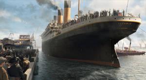 Titanic leaves Southampton dock
