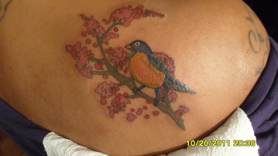 Red robin bird tattoo - photo#18