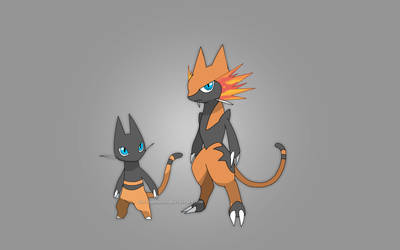 Fire Starter Stage 1 and 2 - Cell Shaded Redesign by ForiegnBacon