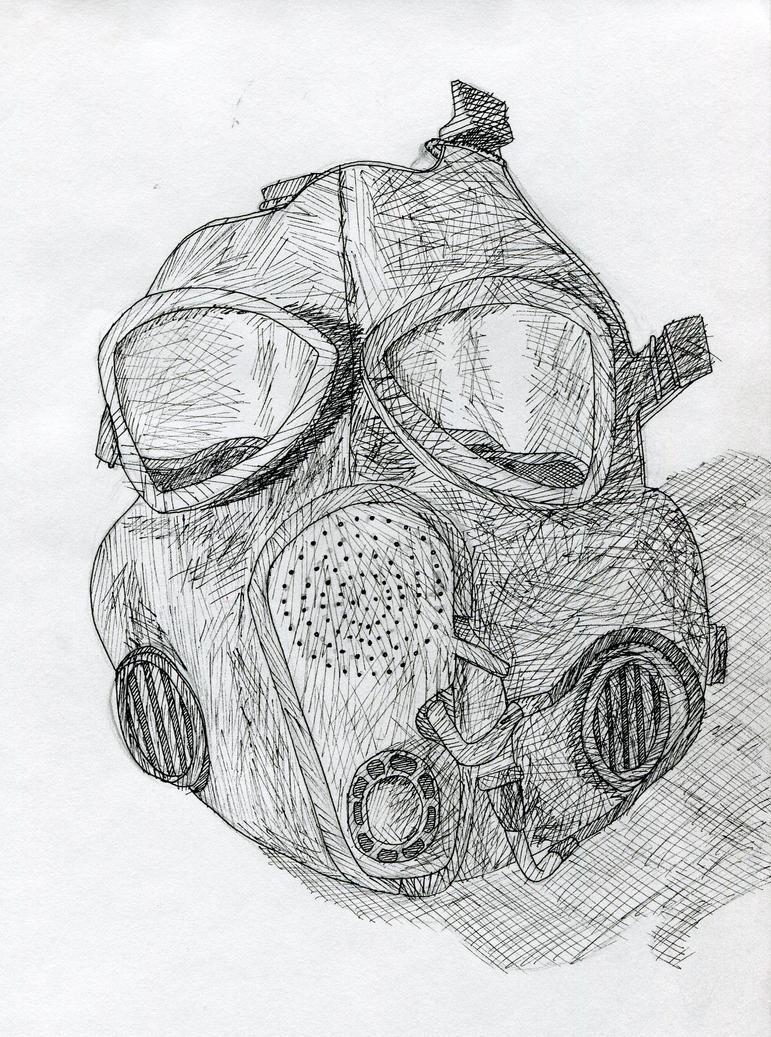 Gas Mask In Ink by Aikiria