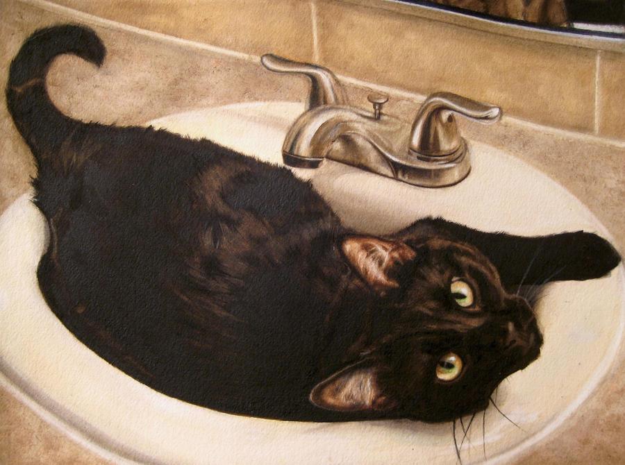 Black Kitty Cloggin up the Sink by OriginalCopyCat1874