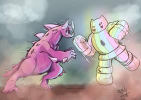 Monster Steven VS Rainbow Mech Star by Sketchpoot