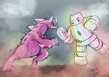 Monster Steven VS Rainbow Mech Star by Sketchpoot by PRS3245