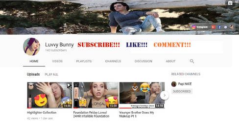 Luvvy Bunny Subscribe to my Youtube Channel!!!