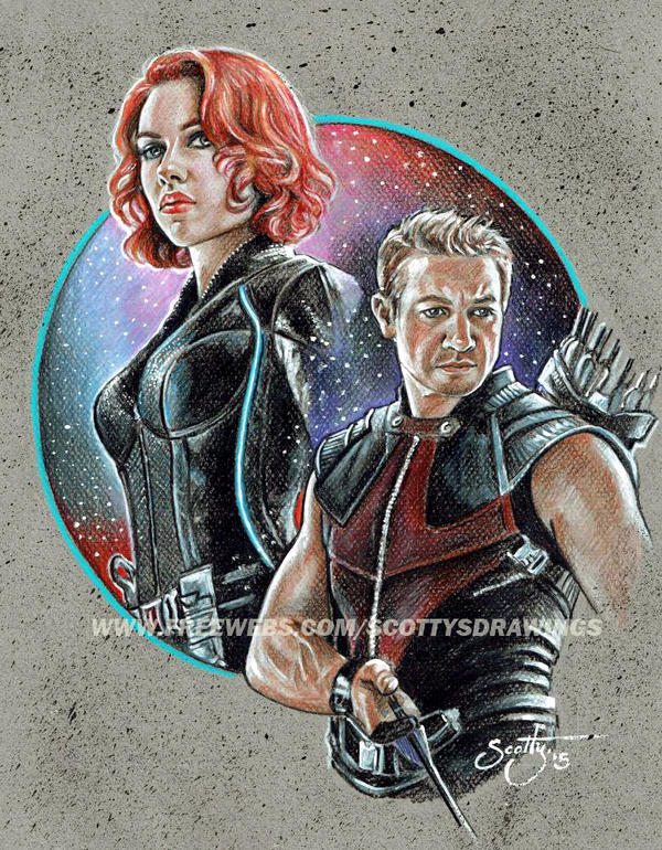 AVENGERS - BLACK WIDOW and HAWKEYE  (2015) by scotty309