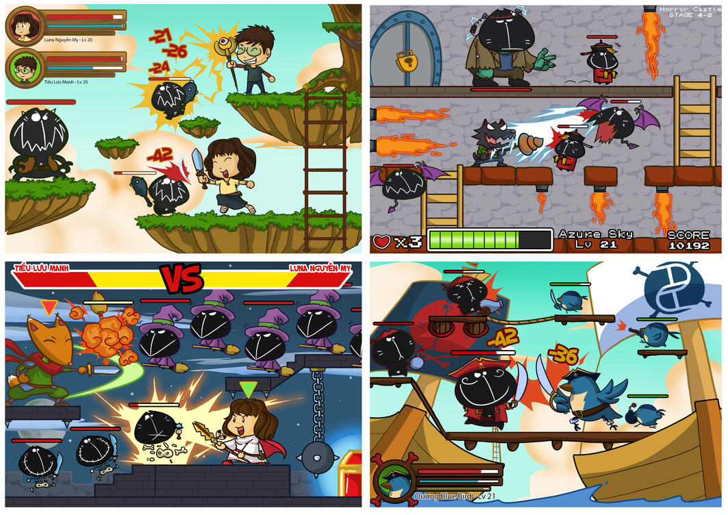 Game-style chibi art 'Monster Fighters' by MeoMoc on ...