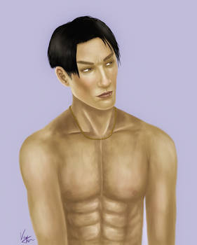 shirtless young Majima Goro