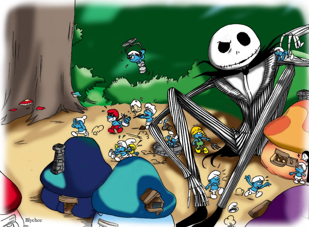 What s this jack skellington smurfs by blychee on deviantart