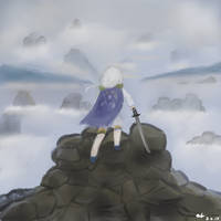 The White-haired Warrior Above the Sea of Fog by Choco-loli