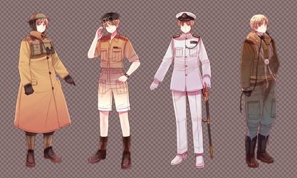 Hetalia UK Uniforms by Cioccolatodorima