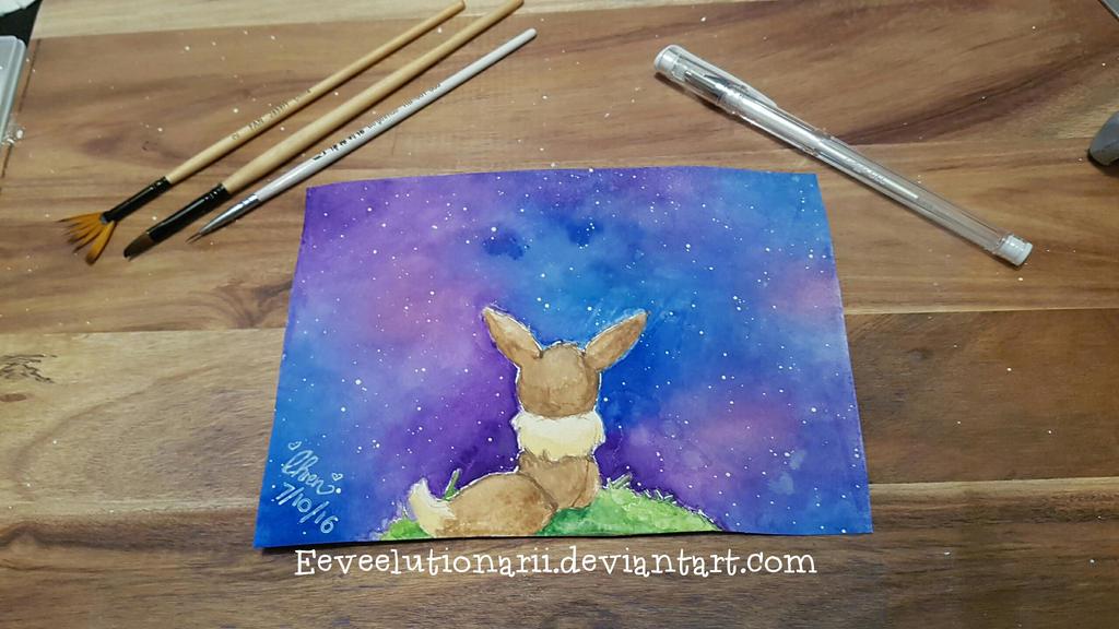 Eevee galaxy - first watercolour attempt by Eeveelutionarii