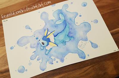 Vaporeon Colour Splash (3rd watercolour attempt)