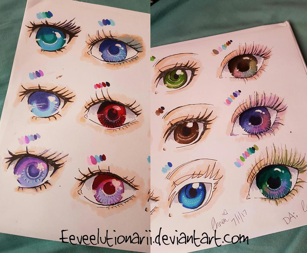 Copic marker eyes practice by Eeveelutionarii