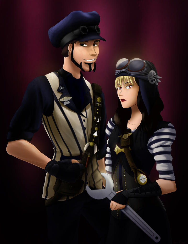 Steampunk Couple Commission by ARTabstraction