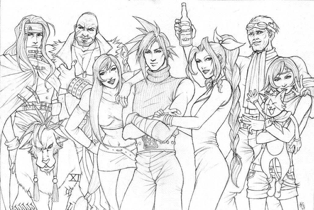 final fantasy coloring pages final fantasy 7 players sketch by ludi price on deviantart