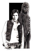 Han Solo and Chewbacca by MisunderstoodTim
