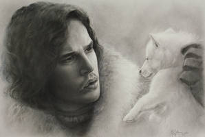 Jon Snow and Ghost - Game of Thrones by bobamaximkin