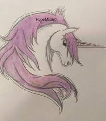 Unicorn watercolour by HopeMisayo