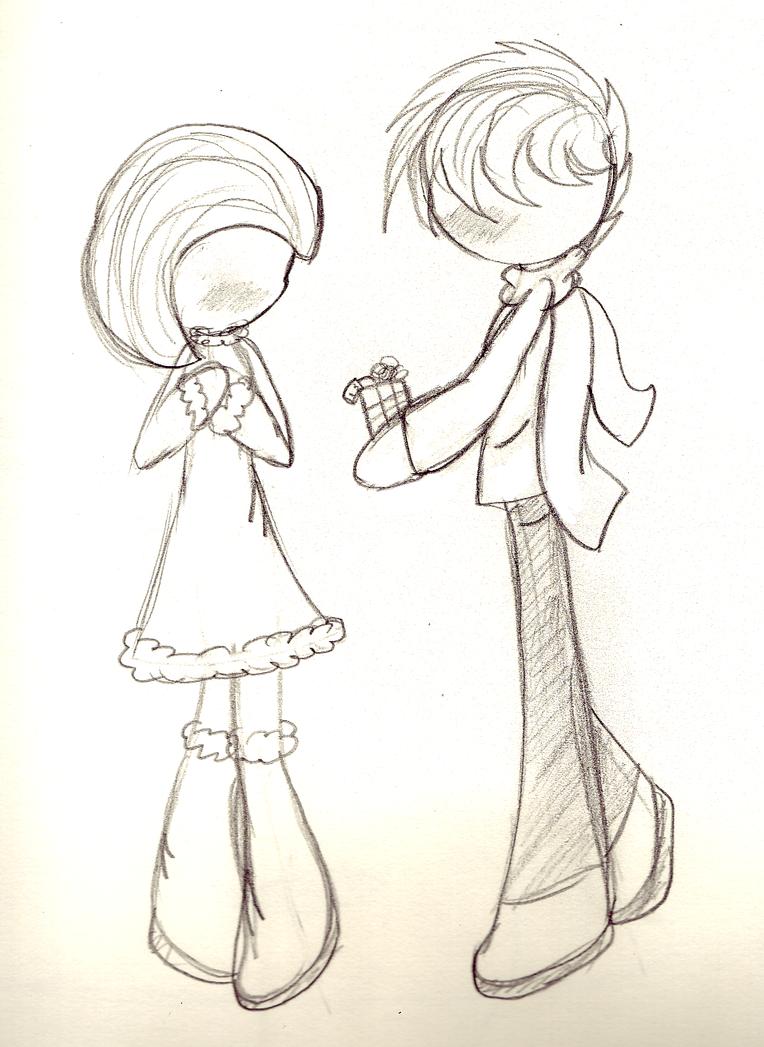 Boy And Girl Sketch Tumblr Boy And Girl Christmas...