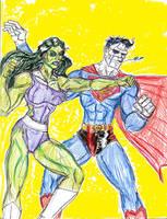 Bizarro vs She-Hulk by theaven