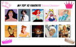 Top 10 Princess characters by theaven