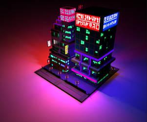 Cyberpunk Voxel City Render by HeiBK201