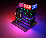 Cyberpunk Voxel City Render
