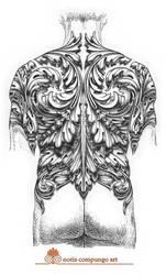 Baroque full back tattoo design
