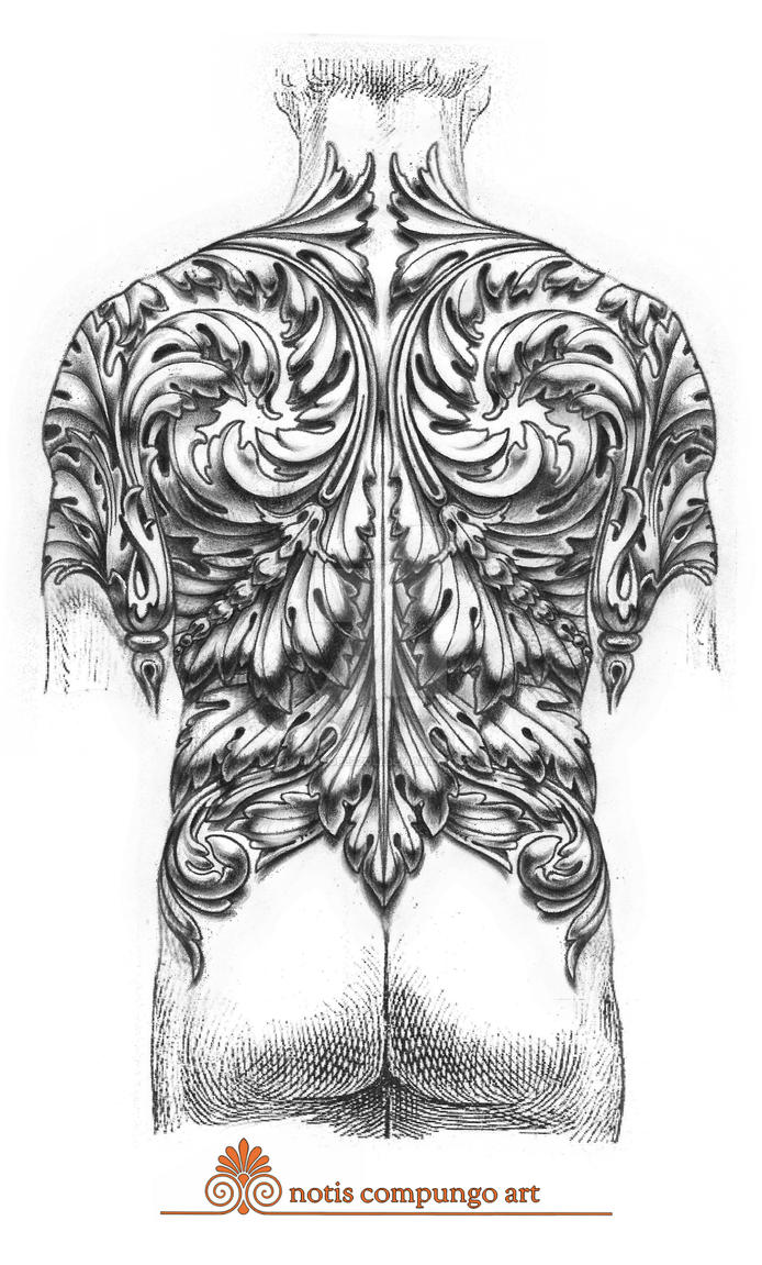 baroque full back tattoo design by lucianopezzoli