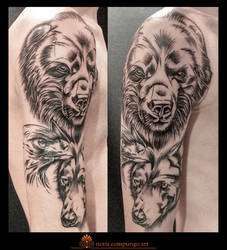 Bear eagle and wolf