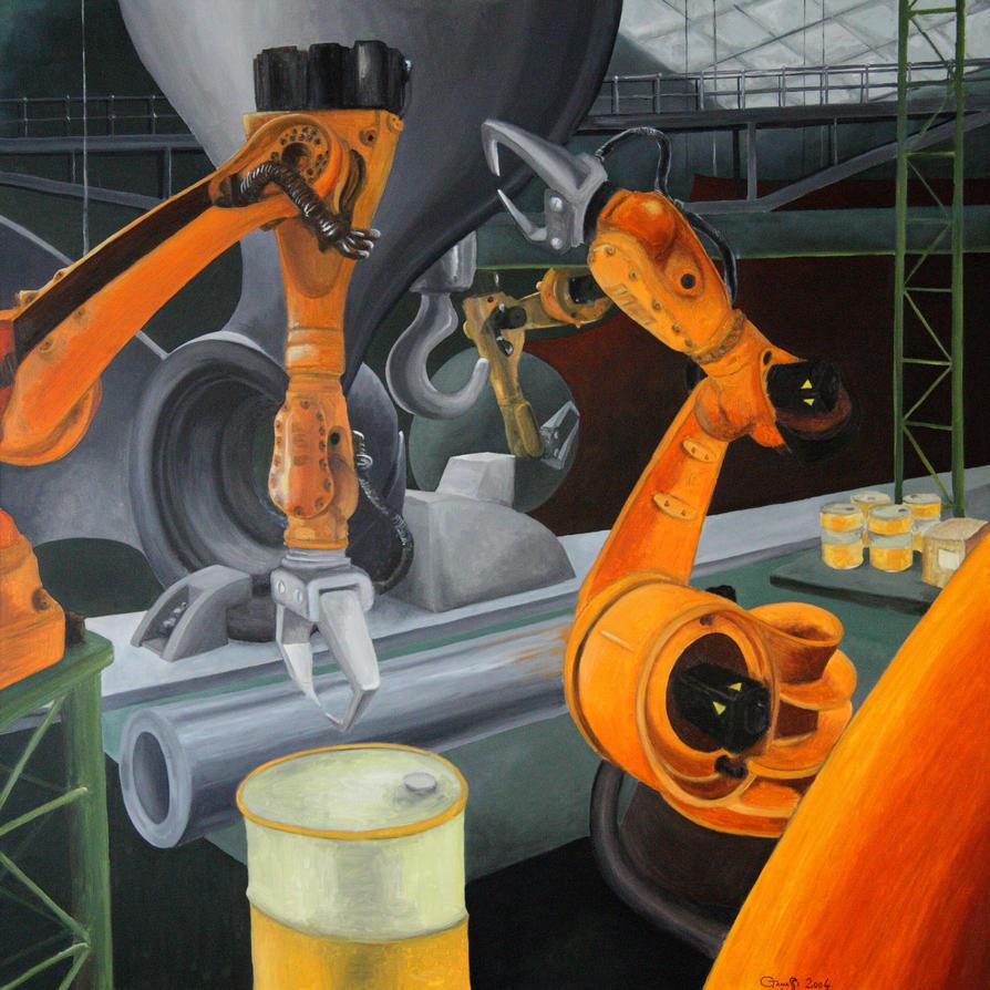 Robots at work by cesaretanassi